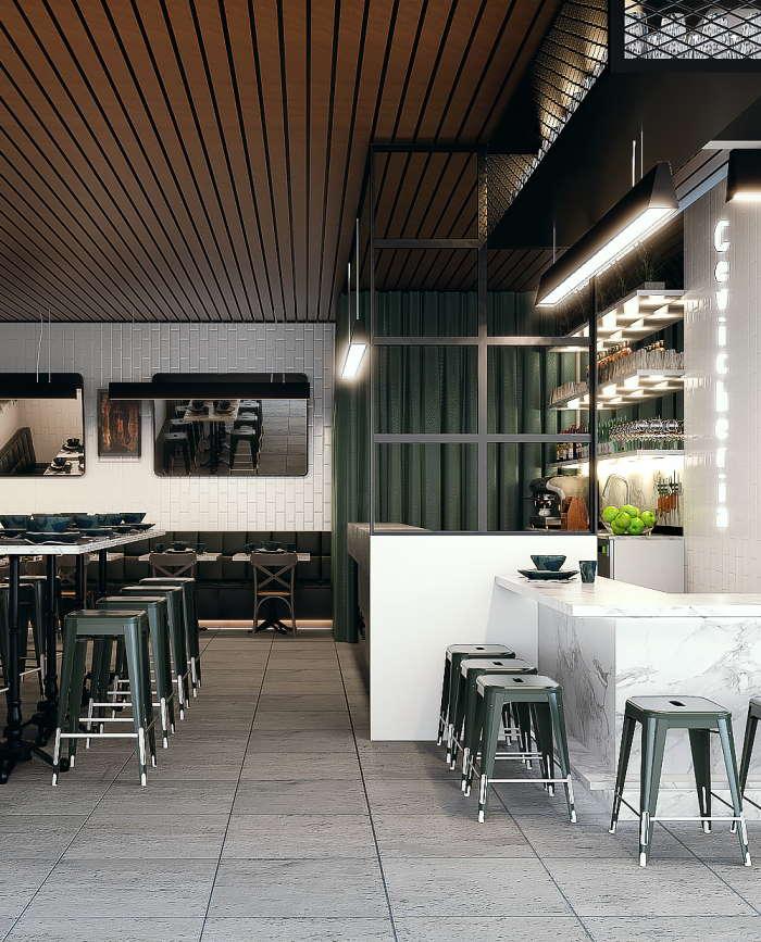 Cevicheria Helsinki Kamppi Ravintolan sisustussuunnittelu